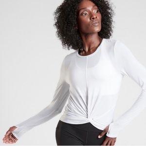 ATHLETA Essence Twist Long Sleeve Top White